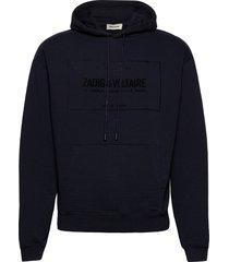 storm mo blason sweatshirt capuche print devant hoodie blå zadig & voltaire