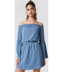 na-kd boho wide sleeve off shoulder dress - blue