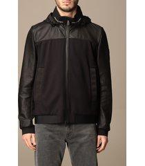 peuterey jacket santaander peuterey sweatshirt in jersey and leather