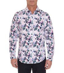 classic-fit printed button-down shirt