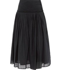 morris pleated cotton-voile skirt