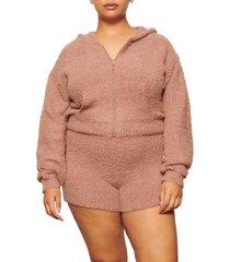 plus size women's skims cozy knit zip hoodie, size 2x/3x - pink
