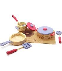 brinquedo madeira cj panelas utensãlios comidinhas azul/rosa - marrom - dafiti