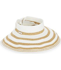striped rolled wide brim visor