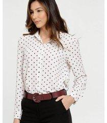 camisa marisa estampa bolinhas manga longa feminina