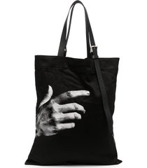 neil barrett hand-print tote bag - black