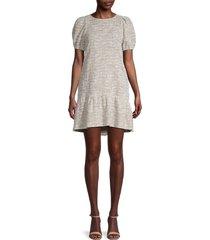 love ady women's puffed-sleeve mini dress - mushroom - size l