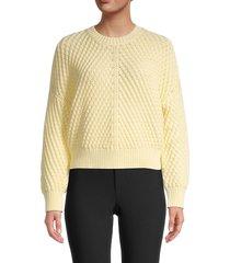 vince women's dropped-shoulder short sweater - sun creme - size m
