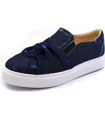 sapatenis casual click calçados em tecido jeans azul marinho torcido