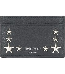 jimmy choo star studded leather card holder - black