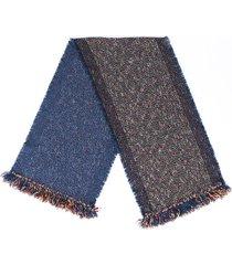 chanel woven alpaca mohair scarf blue/multicolor sz: