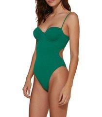 women's vix swimwear firenze corsage underwire one-piece swimsuit, size large - green