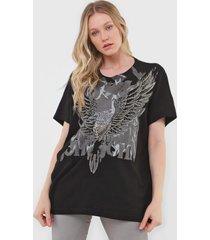 camiseta john john eagle on fire preta - preto - feminino - algodã£o - dafiti