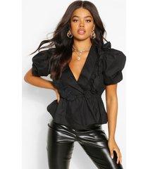 katoenen poplin blouse met pofmouwen en laag decolleté, black