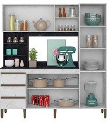 armário cozinha atenas c/ 180cm de largura 6 portas 3 gavetas e nichos peternella