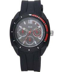 orologio toronto cinturino nero in policarbonato, ghiera rossa e nera per uomo