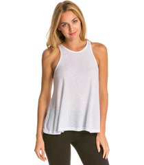 free people women's slub long beach tank top - white - large spandex