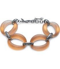 alexis bittar women's gunmetal-tone & lucite soft link bracelet