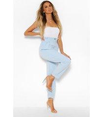 geplooide geweven broek met hoge taille en rechte pijpen, stoffig blauw