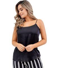 blusa básica de seda con tiras negra unipunto 32373