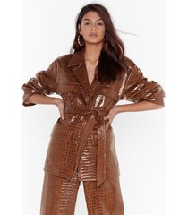 womens can't croc me now vinyl belted jacket - tan