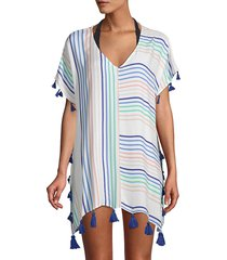 surf gypsy women's candy stripe coverup - white - size s