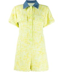 sjyp tweed and denim romper - yellow