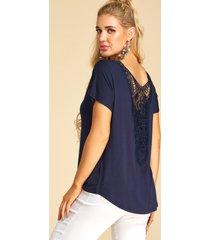 yoins camiseta azul marino con encaje de ganchillo adornado con hueco diseño