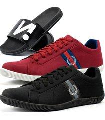 kit 2 pares de sapatãªnis casual dhl masculino + chinelo slide vermelho - vermelho - masculino - dafiti