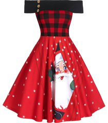christmas off shoulder plaid santa claus print dress