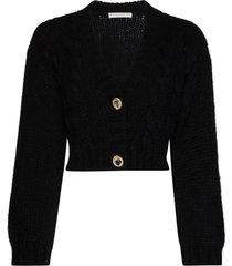 alessandra rich cropped crystal-embellished cardigan - black