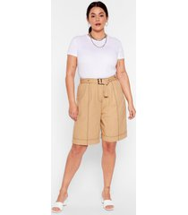 womens win win stitch-uation plus belted shorts - stone