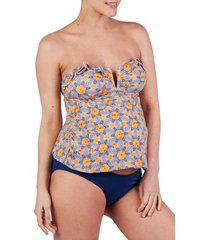 women's cache coeur wax tankini maternity swimsuit, size large - none
