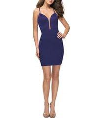 women's la femme strappy back satin party dress, size 0 - blue