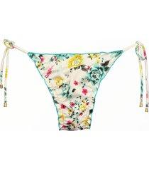 calcinha due pezzi ripple floral verde - bege - feminino - dafiti