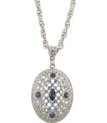 "2028 silver-tone dark and light blue crystal filigree oval pendant necklace 16"" adjustable"