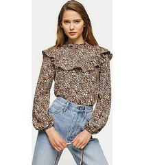 leopard print yoke frill blouse - true leopard