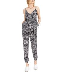 bar iii printed tie-waist jumpsuit, created for macy's