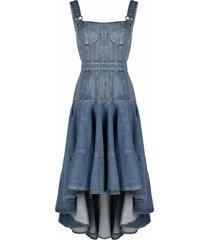 alexander mcqueen square-neck denim dress - blue