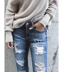 azul detalles rasgados al azar bolsillos laterales denim jeans