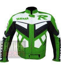 yamaha r green leather motorcycle motorbike genuine cowhide safety  jacket