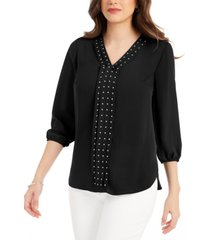 jm collection petite studded pleat-front blouse, created for macy's