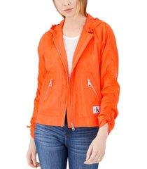 calvin klein jeans zip-up rain jacket