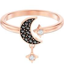 anillo con motivo swarovski symbolic moon, negro, baño en tono oro rosa