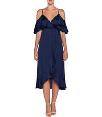 women's bardot bea cold shoulder ruffle dress, size large - blue