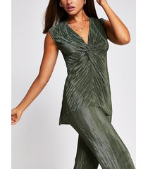 river island womens green knot front tunic top