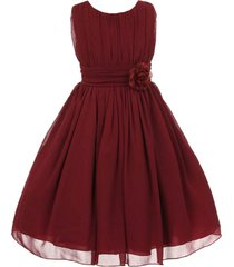 burgundy yoryu chiffon flower girl dress birthday party prom wedding bridesmaid