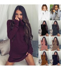winter women turtle neck long sweaters dress fashion solid color casual knitted