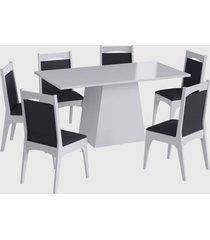 conjunto mesa c/ base 6 cadeiras branco mã³veis canã§ã£o - branco - dafiti