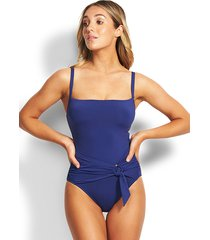 seafolly loop front swimsuit blue opal